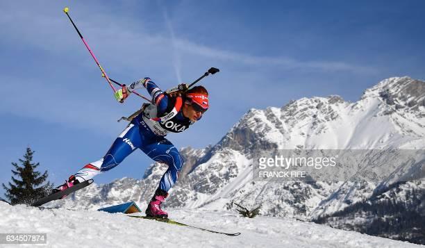 Eva Puskarcikova from Czech Republic competes during the 2017 IBU World Championships Biathlon mixed relay race in Hochfilzen on February 9, 2017. /...