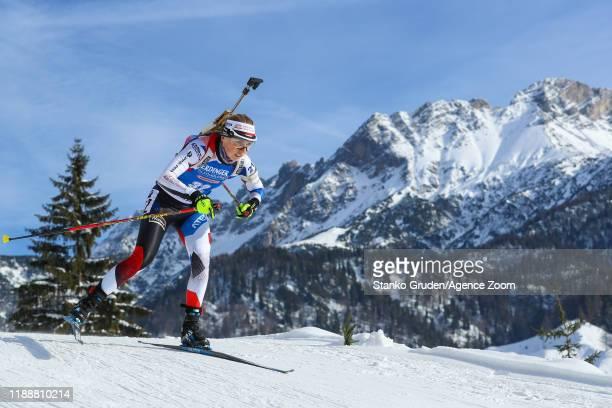 Eva Puskarcikova of Czech Republic in action during the IBU Biathlon World Cup Women's Pursuit on December 15, 2019 in Hochfilzen, Austria.