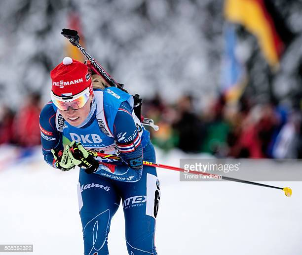Eva Puskarcikova of Czech Republic in action during the Women 4 x 5 km relay Biathlon race at the IBU Biathlon World Cup Ruhpolding on January 17...