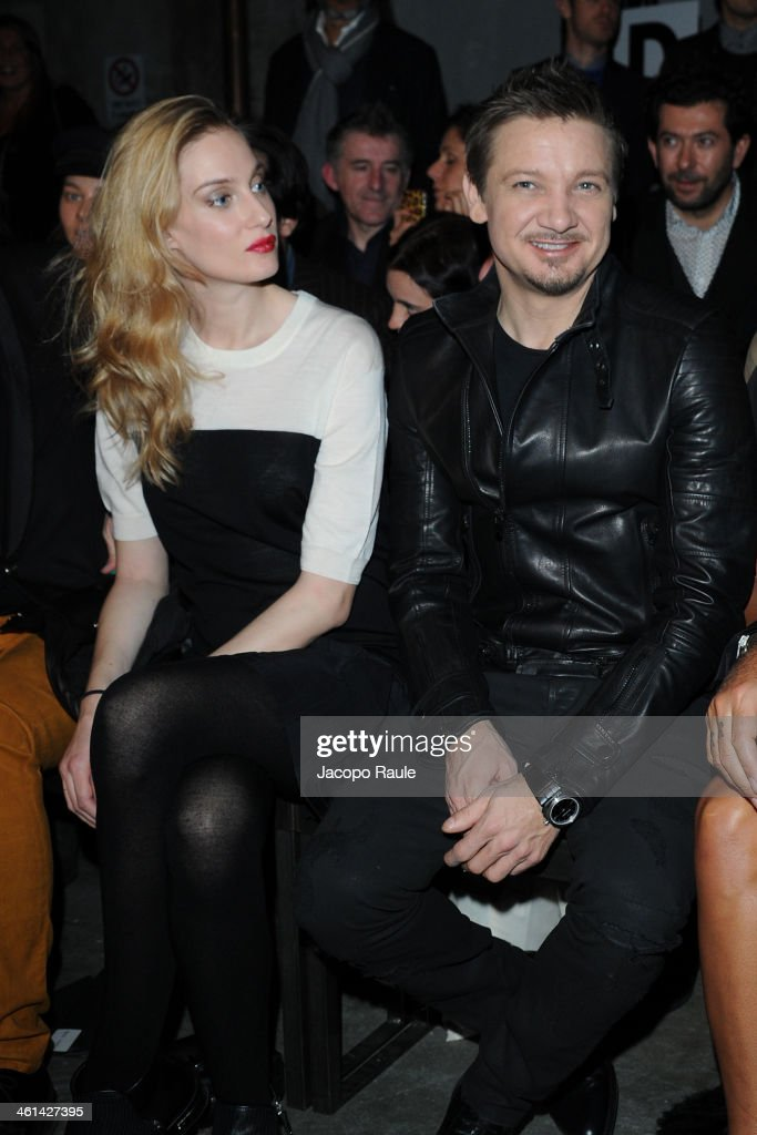 Eva Riccobono and Jeremy Renner attend Diesel Black Gold fashion show during Pitti Immagine Uomo 85 on January 8, 2014 in Florence, Italy.