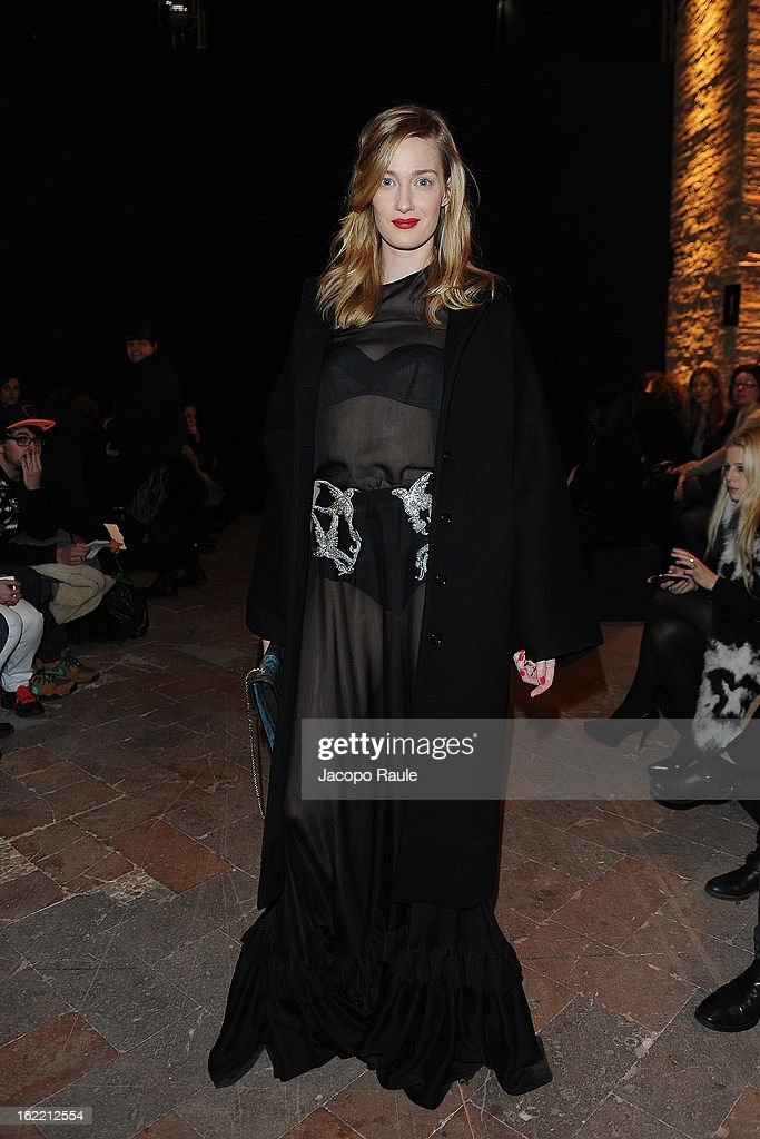 Eva Riccobono attends Francesco Scognamiglio show during Milan Fashion Week Womenswear Fall/Winter 2013/14 on February 20, 2013 in Milan, Italy.