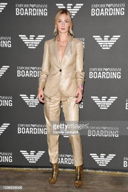 A guest attends the Emporio Armani show during Milan Fashion Week Spring/Summer 2019 on September 20 2018 in Milan Italy