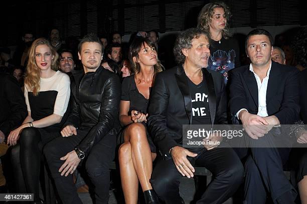 Eva Riccobono Jeremy Renner Arianna Lessi Renzo Rosso and Matteo Renzi attend Diesel Black Gold fashion show during Pitti Immagine Uomo 85 on January...