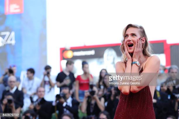 Eva Riccobono walks the red carpet ahead of the 'Downsizing' screening and Opening Ceremony during the 74th Venice Film Festival at Sala Grande on...