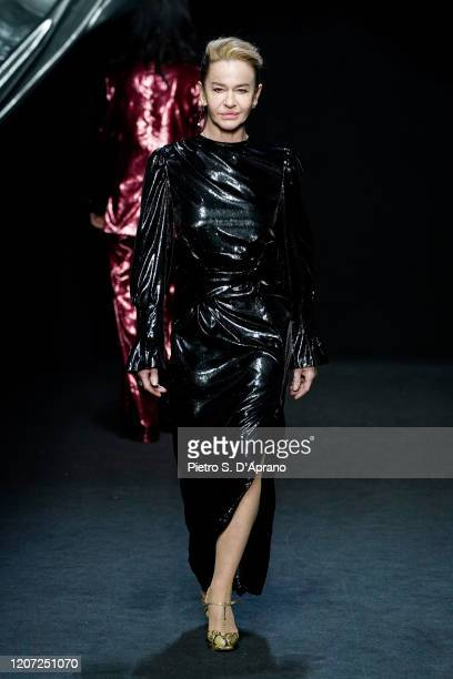 Eva Robin's walks the runway during the Marco Rambaldi fashion show as part of Milan Fashion Week Fall/Winter 20202021 on February 19 2020 in Milan...