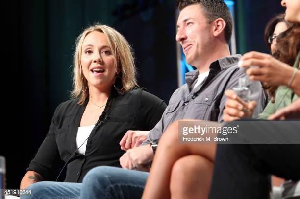 Eva Rupert and Jeff Zausch speak onstage at the Naked and Afraid panel during the Discovery Communications portion of the 2014 Summer Television...