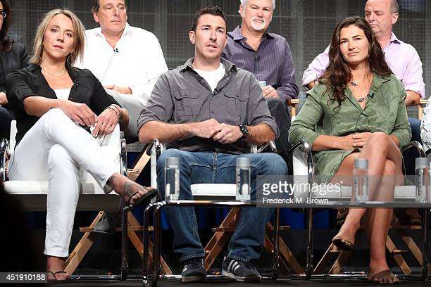 Eva Rupert Jeff Zausch and Dani Julien speak onstage at the Naked and Afraid panel during the Discovery Communications portion of the 2014 Summer...