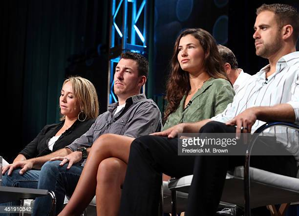 Eva Rupert Jeff Zausch Dani Julien and Justin Bullard speak onstage at the Naked and Afraid panel during the Discovery Communications portion of the...