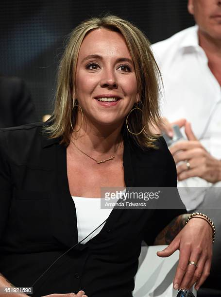 Eva Rupert NAKED AND AFRAID talent speaks during the Discovery Communications TCA Panel Wednesday July 9 2014 at the Beverly Hilton in Beverly Hills...