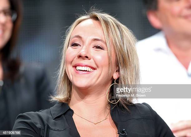 Eva Rupert speaks onstage at the Naked and Afraid panel during the Discovery Communications portion of the 2014 Summer Television Critics Association...