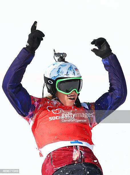 Eva Samkova of the Czech Republic celebrates after during the Ladies' Snowboard Cross Quarterfinals on day nine of the Sochi 2014 Winter Olympics at...