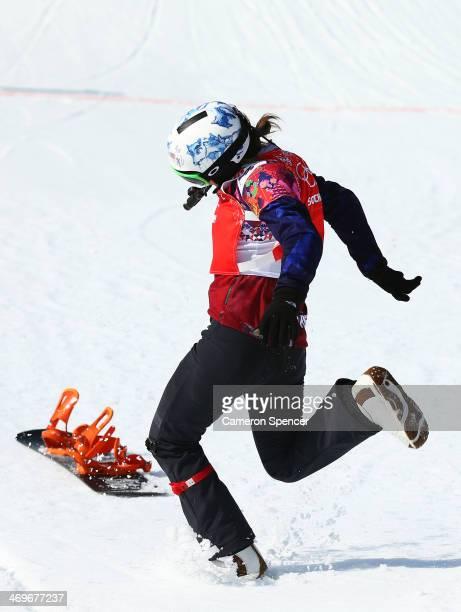 Eva Samkova of the Czech Republic celebrates winning the the Ladies' Snowboard Cross Finals on day nine of the Sochi 2014 Winter Olympics at Rosa...
