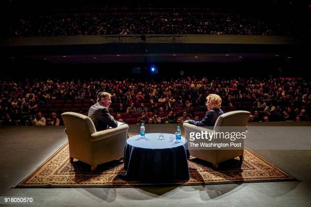 Eva Schloss R is interviewed by Eli Rosenbaum L at the George Mason University Center for the Arts Concert Hall at George Mason University on...