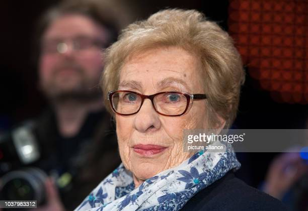 Eva Schloss stepsister of Anne Frank participating in the talk show '3nach9' in the studio of Radio Bremen in Bremen Germany 19 February 2016 Photo...