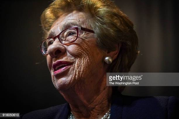 Eva Schloss the step sister of Anne Frank and an elderly Holocaust survivor herself sits for an interview at the George Mason University Center for...