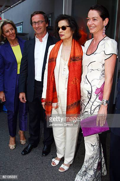 Eva Spaengler gallery owner Thaddaeus Ropac Bianca Jagger and Corinne Flick arrive for the 'Der Stein' theatre premiere on 31 July 2008 in Sazburg...