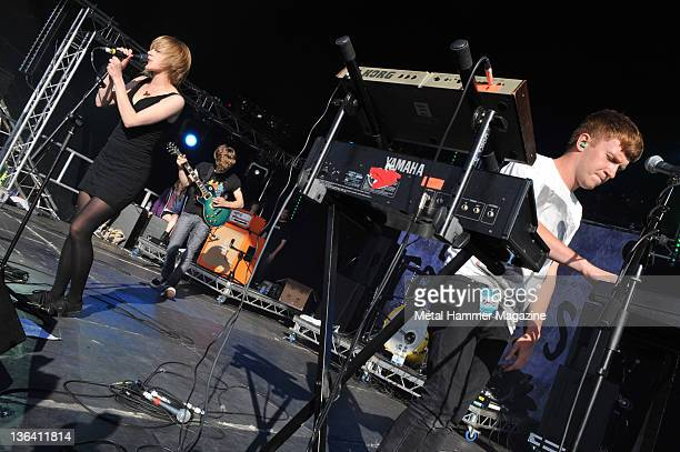 Eva Spence and James Spence of Rolo Tomassi live on stage at Hevy Music Festival in Hythe on August 7 2010