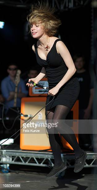 Eva Spence of British rock band Rolo Tomassi performs on stage during the second day of Hevy Music Festival at Port Lympne Wild Animal Park on August...