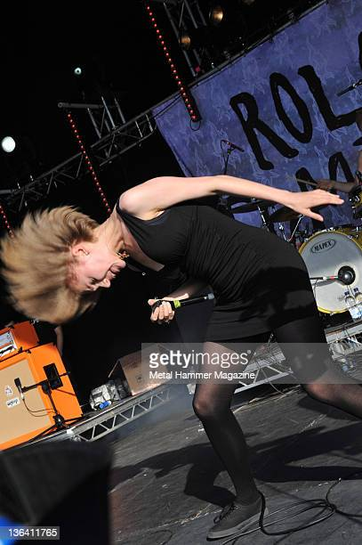Eva Spence of Rolo Tomassi live on stage at Hevy Music Festival in Hythe on August 7 2010