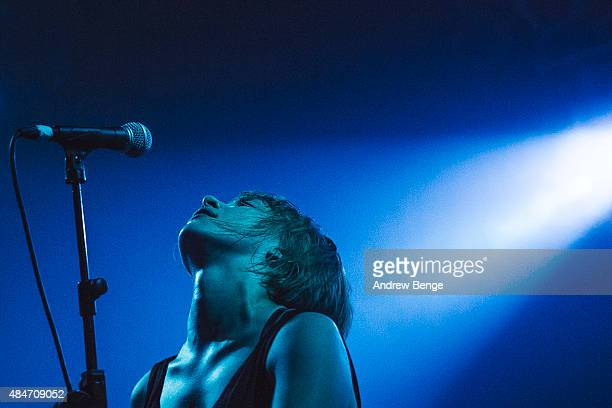 Eva Spence of Rolo Tomassi performs on stage at Electric Ballroom on August 19 2015 in London England