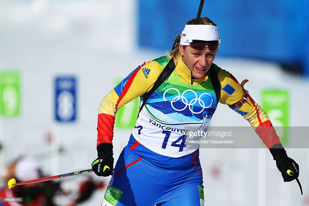 Eva Tofalvi of Romania competes during the Biathlon Women's 15 km individual on day 7 of the 2010 Vancouver Winter Olympics at Whistler Olympic Park Biathlon Stadium on February 18, 2010 in Whistler, Canada.