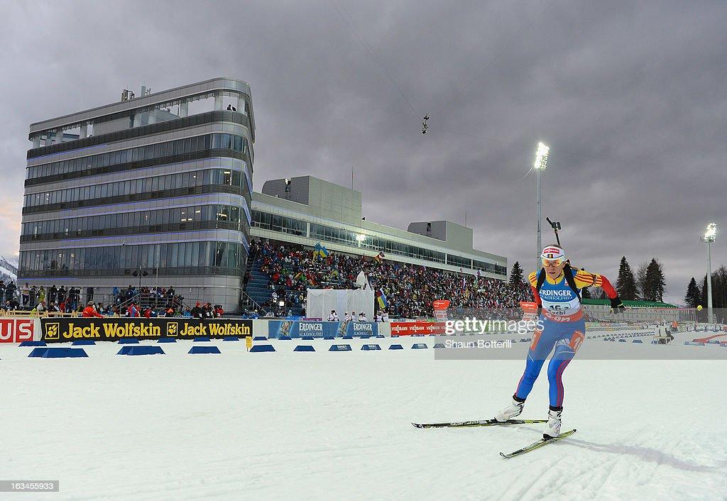 Eva Tofalvi of Romania competes in the Women's 4x6km Relay event at theBiathlon & Ski Complex on March 10, 2013 in Sochi, Russia.