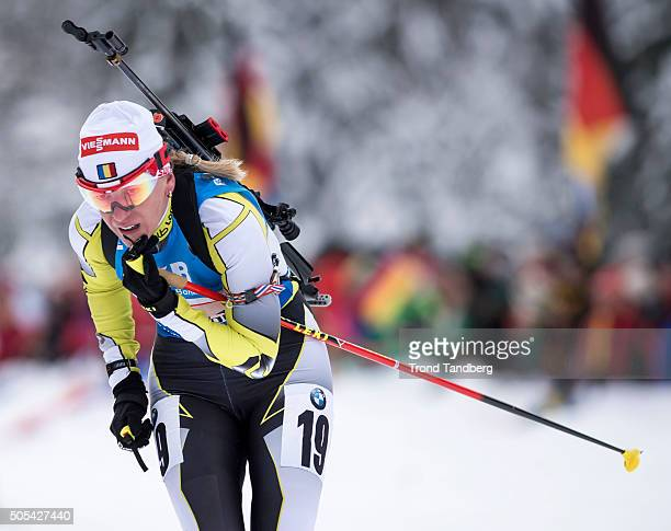 Eva Tofalvi of Romania in action during the Women 4 x 5 km relay Biathlon race at the IBU Biathlon World Cup Ruhpolding on January 17 2016 in...