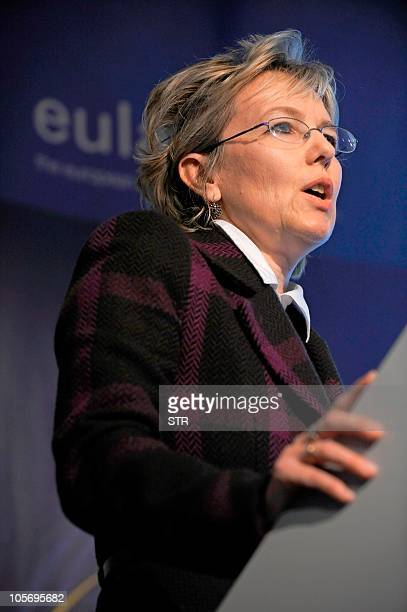 Eva Torok Deputy Head of the cabinet of EU Employment Social Affairs and Equal Opportunities gives a speech at the start of the EU Presidency...