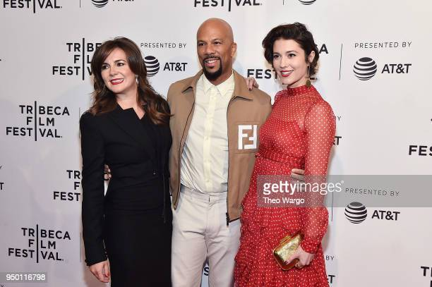 Eva Vives Common and Mary Elizabeth Winstead attend a screening of All About Nina during the 2018 Tribeca Film Festival at SVA Theatre on April 22...