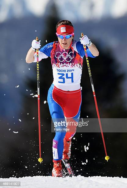 Eva VrabcovaNyvltova of the Czech Republic competes in the Women's 10 km Classic during day six of the Sochi 2014 Winter Olympics at Laura...