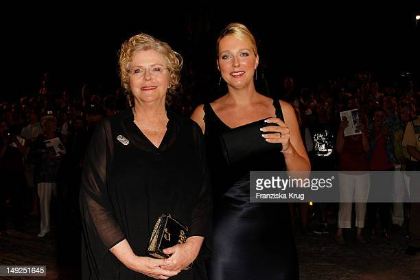 Eva WagnerPasquier and Katharina Wagner arrive for the reception of the Bavarian state governor after the Bayreuth festival 2011 premiere on July 25...