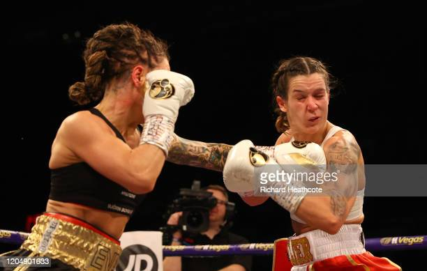 Eva Wahlstrom punches Terri Harper during the WBC and IBO SuperFeatherweight World Title Fight between Eva Wahlstrom and Terri Harper at FlyDSA Arena...
