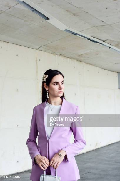 Eva wears a Zara total look during Mercedes Benz Fashion Week Madrid Autumn/Winter 2020-21 on January 31, 2020 in Madrid, Spain.