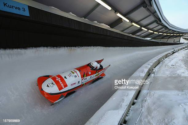 Eva Willemarck and Wendy van Leuven of Belgium in action during the two women's bob competition during the FIBT Bob & Skeleton World Cup at Bobbahn...