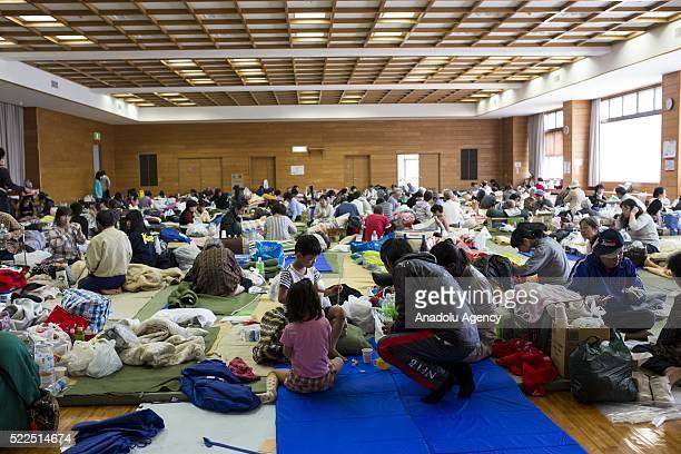 Evacuated earthquake survivors rest in the morning on Wednesday April 20, 2016 in Mashiki Gymnasium evacuation center, Kumamoto, Japan. As of April...