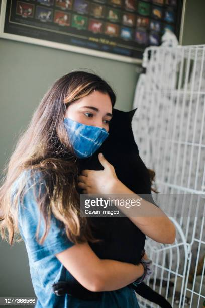 evacuation and cat reunion with teen - prepare to evacuate with a pet - evacuation stock pictures, royalty-free photos & images