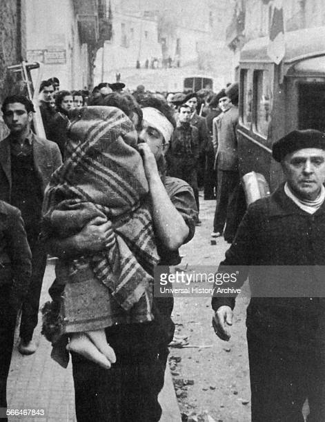 Evacuation of civilians from a nationalist bombardment of a Spanish city during the Spanish Civil War