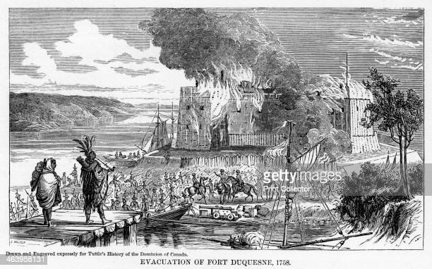 'Evacuation of Fort Duquesne 1758' The site was of strategic importance during the French and Indian War Illustration from Popular history of the...