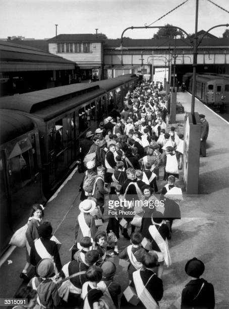 Evacuees at a London Underground station begin the journey to their new homes.