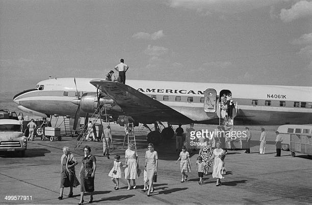 Evacuees from Baghdad arriving at Esenboga Airport Ankara Turkey 25th July 1958 The passengers have left Iraq following the coup d'état also known as...
