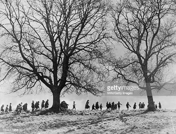 Evacuees' Nature Walk In Devon A group of forty children return from a walk with their teacher Miss Betty Hall to Dartington Hall Devon where they...