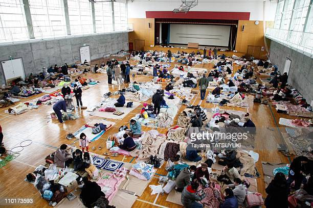 Evacuees rest in a shelter on March 16, 2011 in Nihonmatsu city, Fukushima prefecture, Japan. The Fukushima Daiichi nuclear plant on the prefecture's...