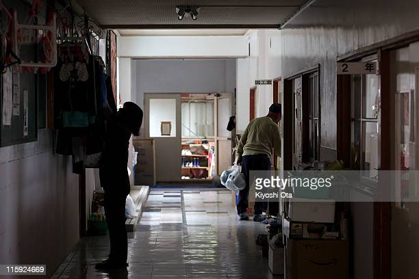 Evacuees take shelter at Ando Elementary School used as an evacuation center on June 12, 2011 in Otsuchi, Iwate, Japan. Japanese government has been...