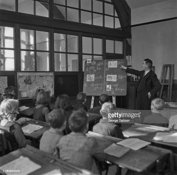 Evacuees to Wales learning Welsh in a classroom during World War II November 1940