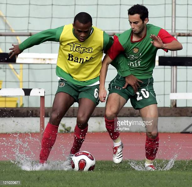 Evaldo and Filipe Oliveira in action during Maritimo training session in Funchal Portugal on January 25 2007