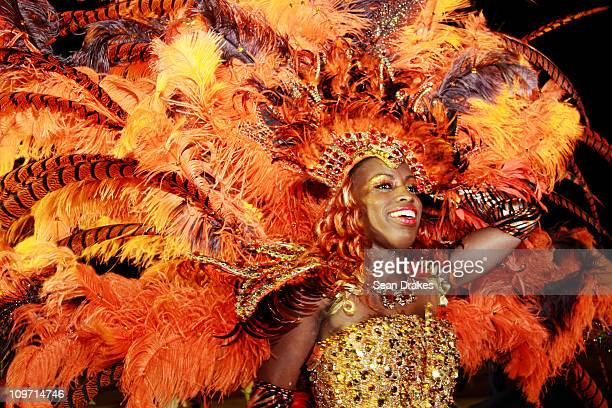 Evalina Palotta of the band Survivor by Ronnie Caro performs at the Queen's Park Savannah on March 1 2011 in Port of Spain Trinidad