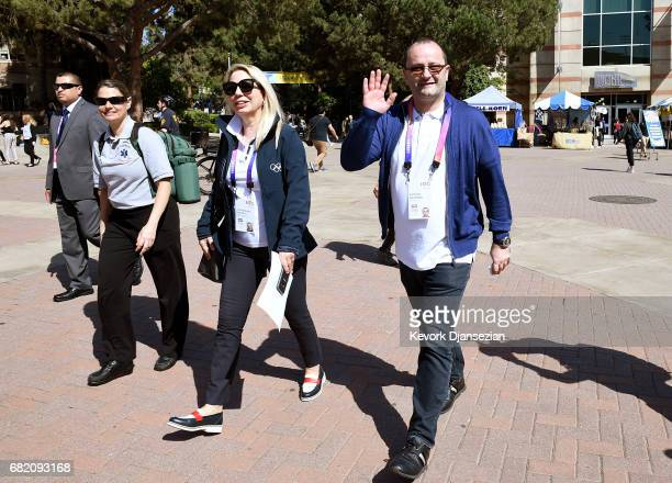 Evaluation Commission Chairman Patrick Baumann and Jacqueline Barrett Associate Director Olympic Games/Olympic Candidatures tour the campus of UCLA...