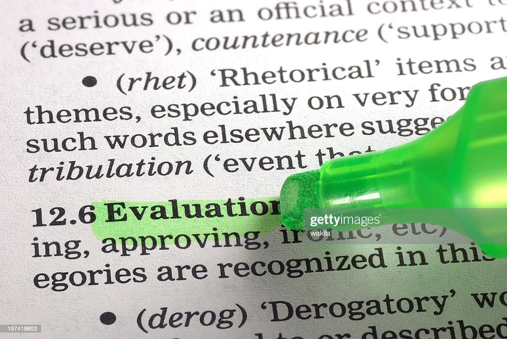 Evaluation Definition Highligted Green In Dictionary Word Stock