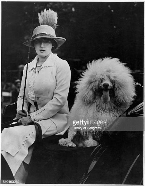Evalyn Walsh McLean owner of the Hope Diamond sits in a carriage with her pet poodle