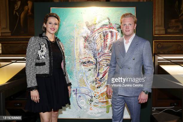 """Eva-Maria Blank and Leon Löwentraut attend the exhibition opening """"Leonismo"""" by artist Leon Loewentraut on May 21, 2021 in Venice, Italy. In the..."""